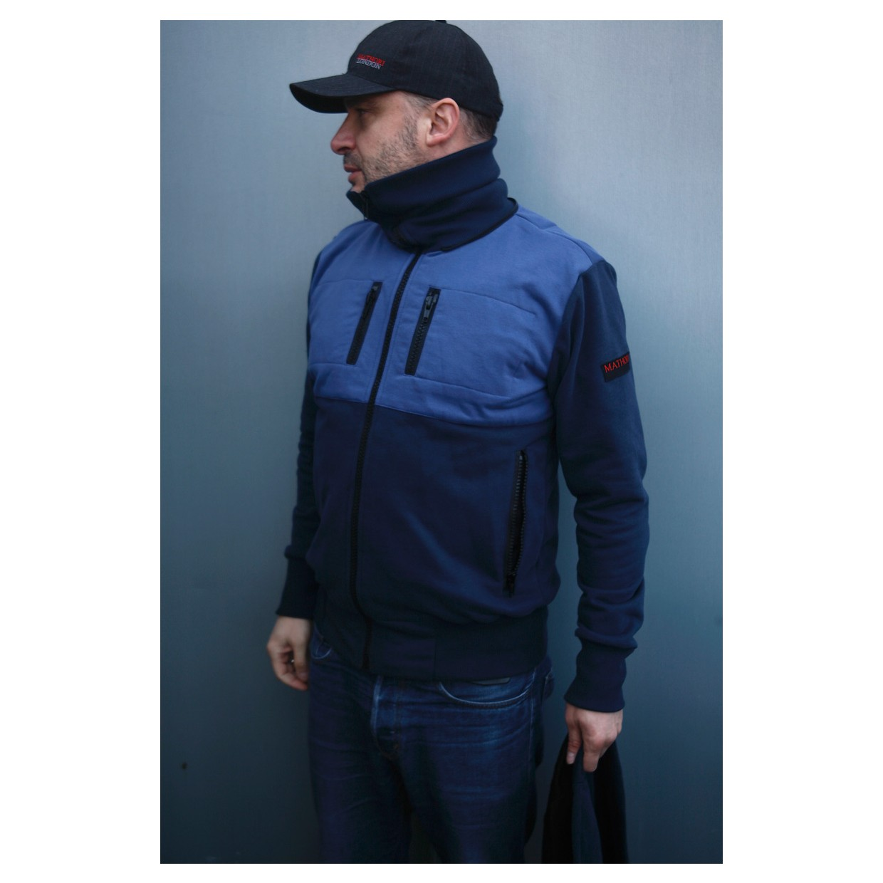 Mathori London - Long Collar Hoodie in Navy Blue