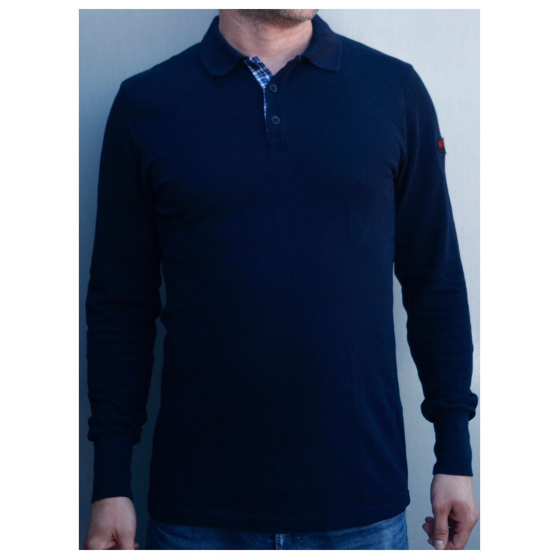Mathori London - Long Sleeve Navy Blue Polo Shirt