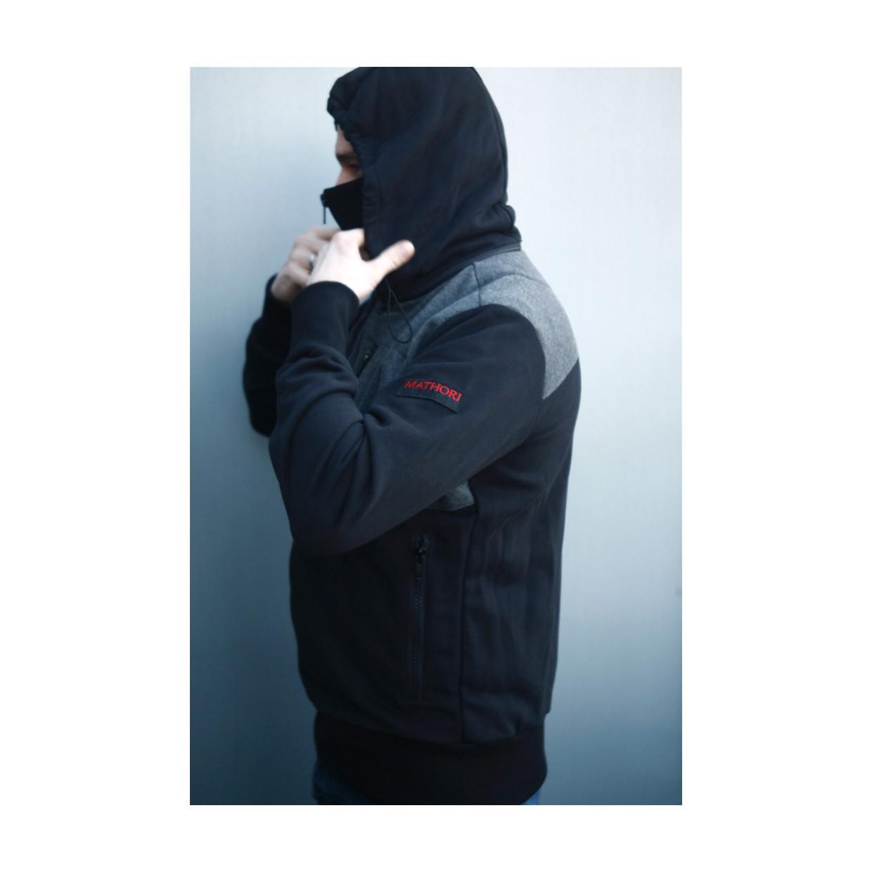 Mathori London - LONG COLLAR HOODIE IN BLACK