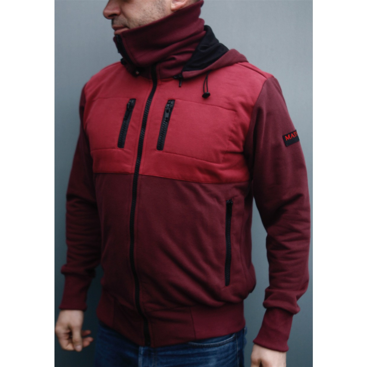 Mathori London - Long Collar Maroon Hoodie