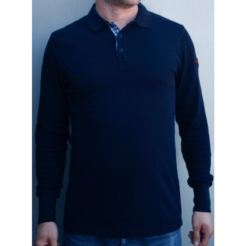 Mathori London - Long Sleeve Navy Blue Polo Shirt