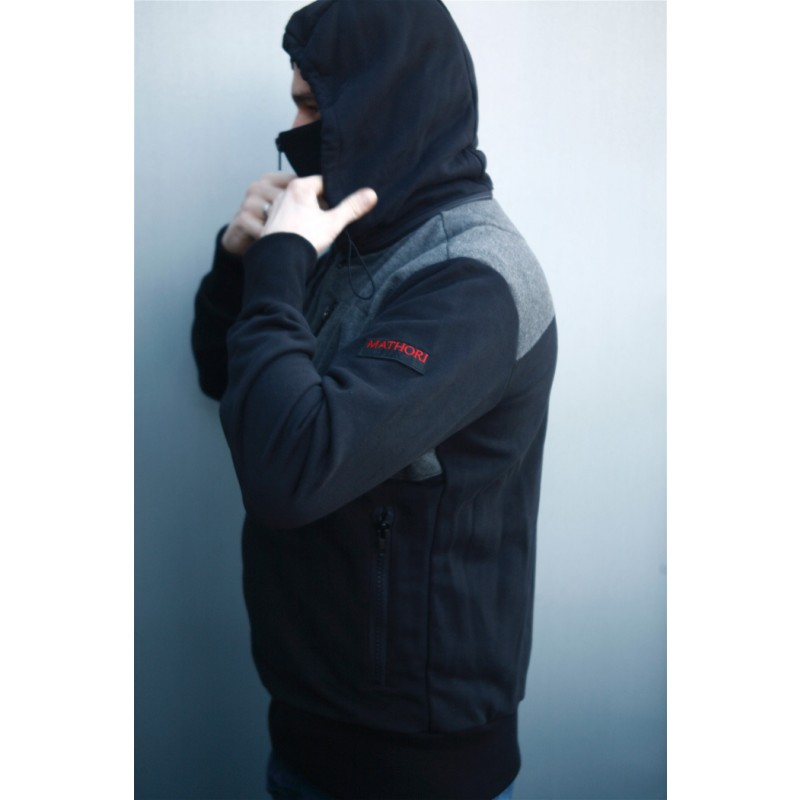 Mathori London - LONG COLLAR HOODIE IN BLACK