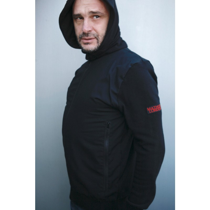 Mathori London - Ripstop Knitted Hoodie in Black