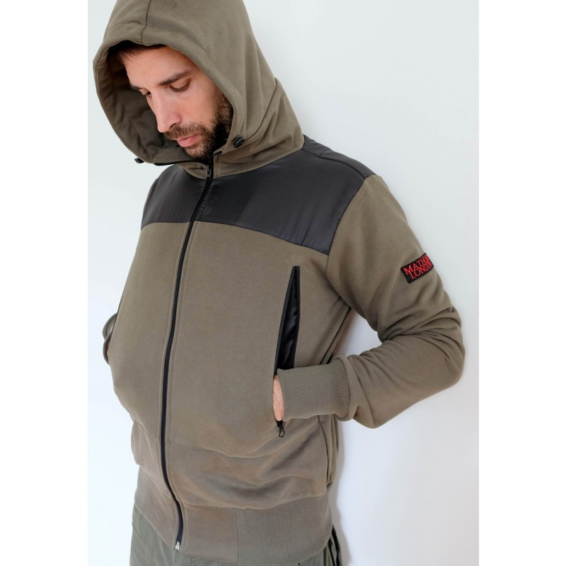 Mathori London - Hoodie with ripstop shoulder patches (Olive green)