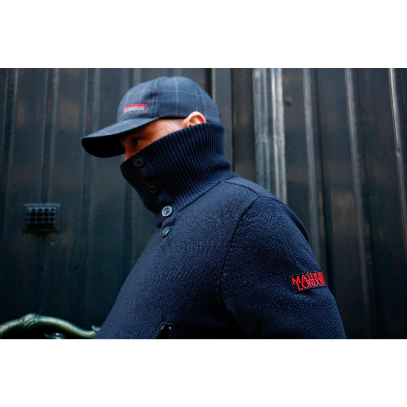MATHORI LONDON - COTTON KNITTED NAVY BLUE PULLOVER