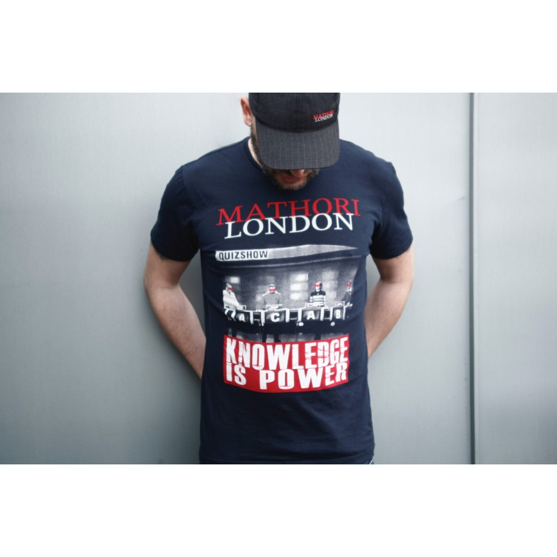 MATHORI LONDON - ''KNOWLEDGE IS POWER'' HEAVY T-SHIRT IN Navy