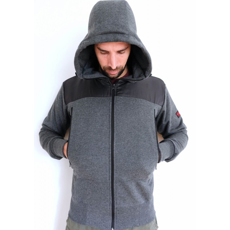 Mathori London - Hoodie With Ripstop Shoulder Patches (Melange Grey)