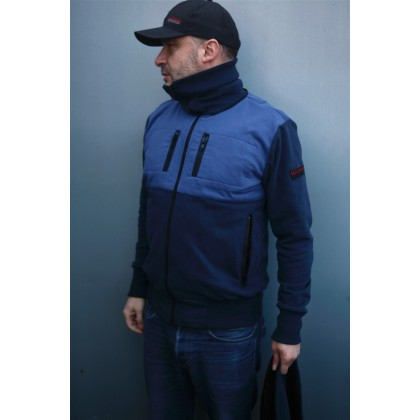 Mathori London - Long Collar Hoodie in Navy Blue